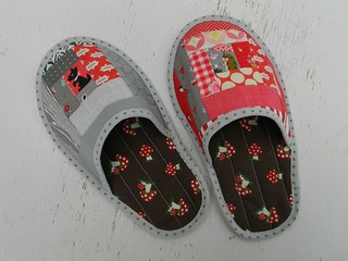 log cabin patchwork slippers