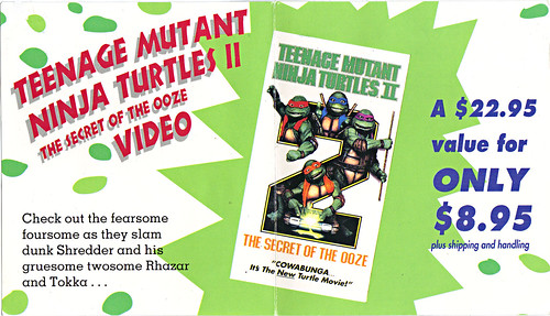 "TEENAGE MUTANT NINJA TURTLES II : THE SECRET OF THE OOZE :: ""YO DUDES ..."" ; TMNT II Video Offer form ii  (( 1993 ))"