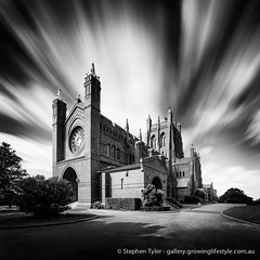 Christ Church Cathedral, Newcastle.  Built on the top of the hill behind Newcastle CBD, the cathedral still dominates the skyline of the city.  Stitched image from two 4 minute exposures....