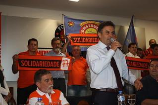 Aposentados recebem o presidenciável Aécio Neves para debater pauta de reivindicações