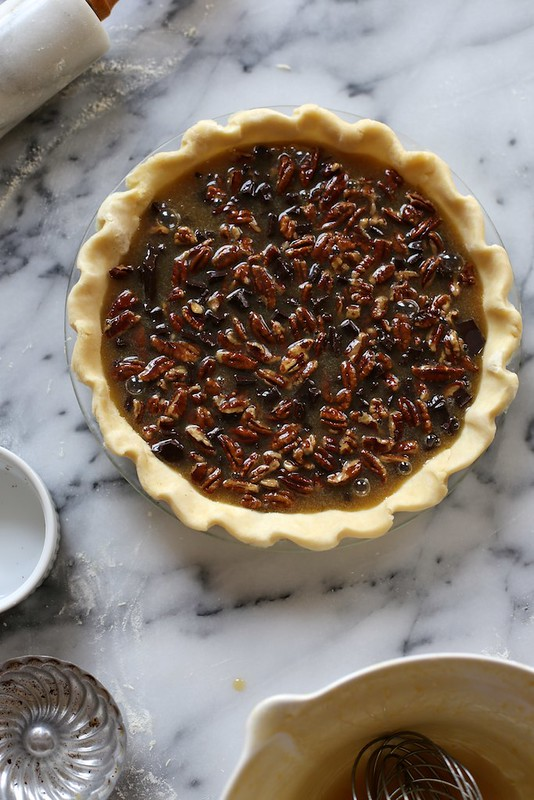 ... thick pie filling is poured over the chocolate and pecans. Yes it is