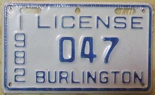 BURLINGTON ONTARIO 1982 ---CITY LICENSE
