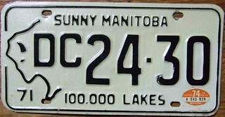 MANITOBA 1974---DELIVERY CAR PLATE