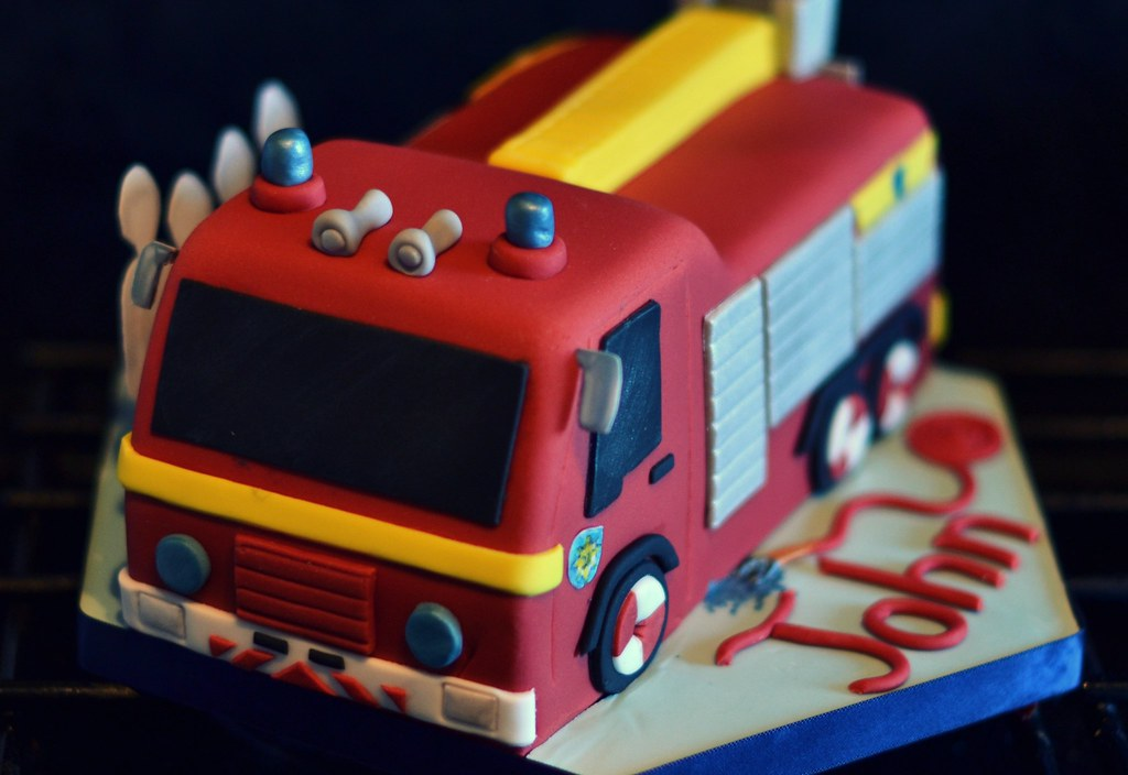 Fireman Birthday Party Jupiter Fire Engine Cake