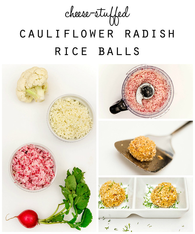 cauliflower radish cheese rice balls