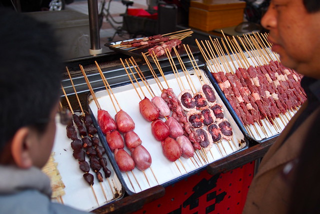 hearts, livers, and other organs, x东华门夜市 (Dong Hua Men Night Market), Beijing, China
