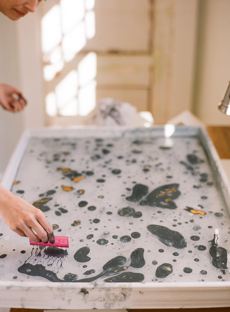 Stephanie Fishwick Shows How to Make DIY Marbled Place Cards