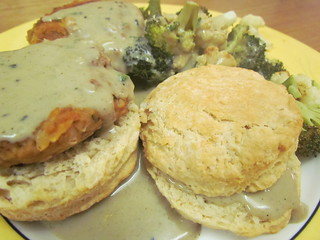 Biscuits and Creamy Sage Gravy; Tempeh and White Bean Sausage Pattes (VWAV); roasted broccoli and cauliflower