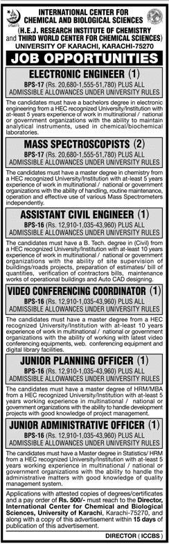 International Center for Chemical and  Biological Sciences Karachi Jobs
