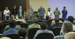 U.S. Capt. Tom Williams, center, mission commander for Pacific Partnership 2016, addresses participants of a humanitarian assistance and disaster relief symposium during the workshop's closing ceremony. (U.S. Navy/MC2 Lindsey E. Skelton)