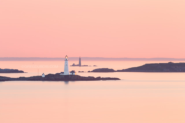 Boston Light and The Graves Light at Sunrise with Boston Harbor Islands from Hull Massachusetts