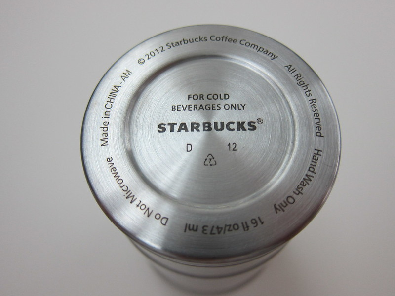Starbucks Stainless Steel Cold Cup - Bottom View