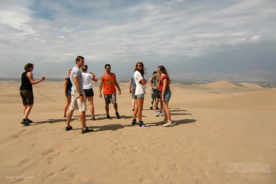 The gang checking out the massive sand dunes surrounding the Huacachina Oasis, Peru.