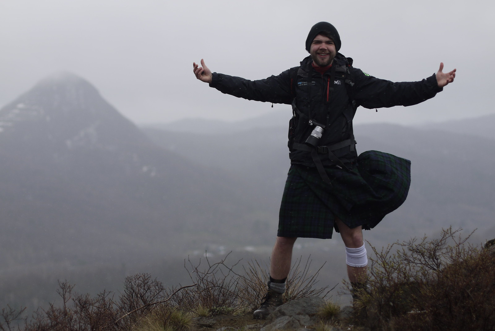 A man hiking in a Scottish kilt on Hakken-zan mountain near Jozankei, Hokkaido, Japan