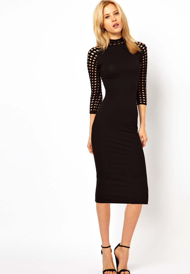 ASOS PETITE Exclusive Bodycon Midi Dress With Ladder Sleeve And Neck