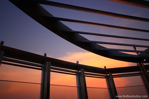 blue sunset orange building tower horizontal architecture sunrise dubai uae middleeast khalifa unitedarabemirates burj tallest worldstallestbuilding viewingdeck 2013 downtowndubai firefluxstudios fireflux firefluxstudio