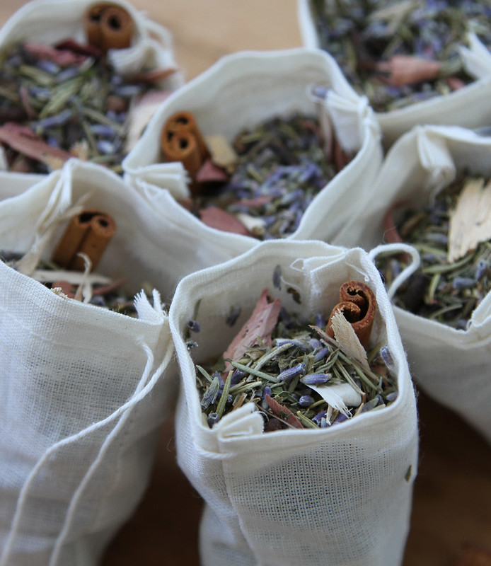 moth sachets filled with herbs and cinnamon