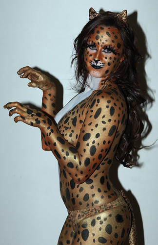 Hot Kandi Body painting Cheetah by humanstatuebodyart