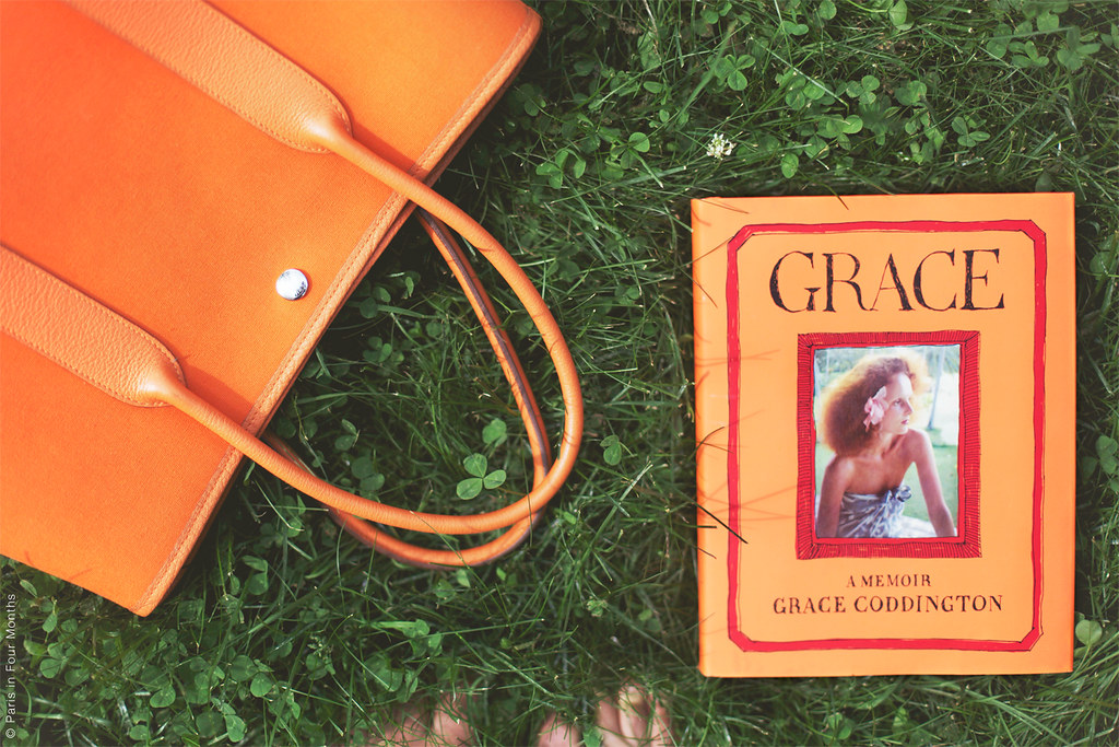 "Garden Party Bag and the Book ""Grace"" in the Grass"