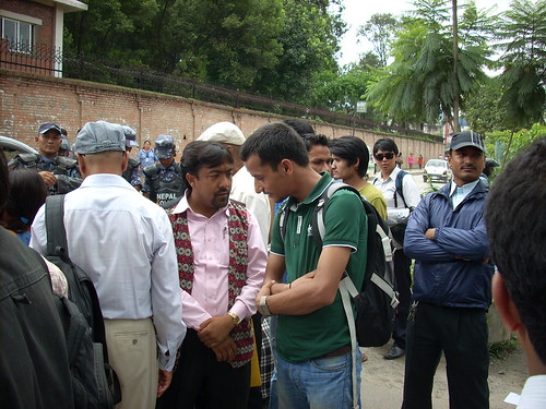 Shiva with Rem, JMC President, at a protest for Dalit rights in Kathmandu