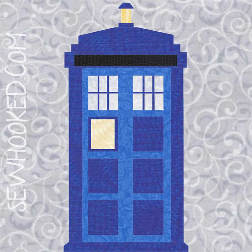 "10"" TARDIS quilt block, paper pieced"