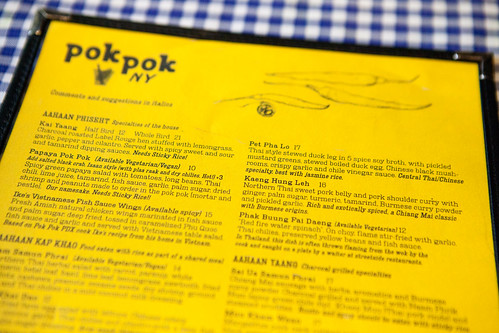 Menu of Pok Pok NY