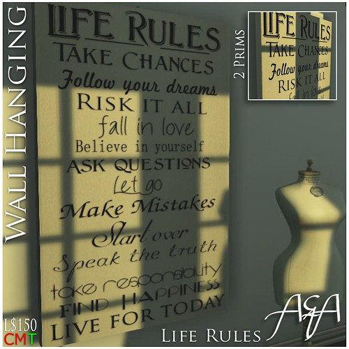 Life Rules W::A&A:: Life Rules Wall Hangingall Hanging by ::A&A:: Life is your creativity!