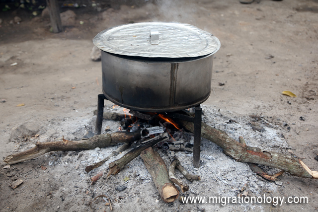 The pot of goat soup