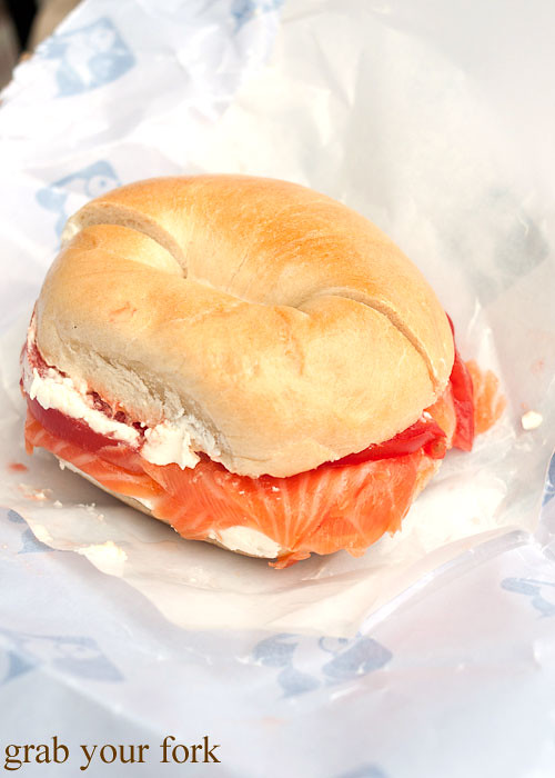 oak smoked salmon and cream cheese bagel at russ & daughters smoked fish nyc new york usa jewish food lower east side les