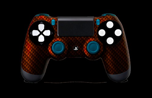 PS4Controller-OrangeBlackCarbonFiber