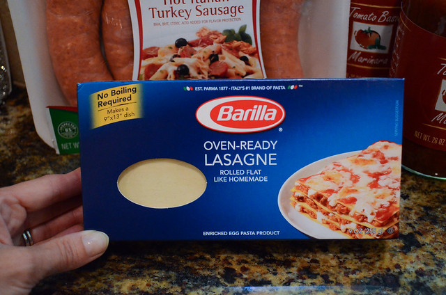 A package of Oven-Ready Lasagne pasta.