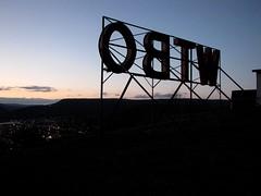 WTBO sign at night