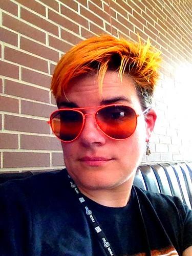 I stole @headgeek666's sunglasses. He sees in orange. #ff2013