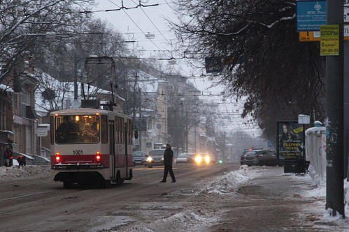 Stopping for a tram passenger in Nizhny Novgorod