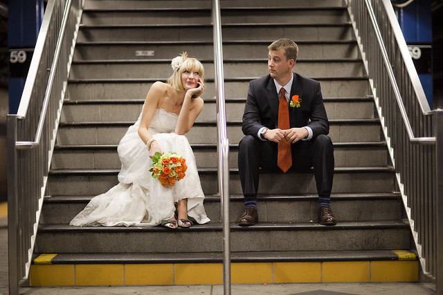 KateRussWedding_subway stairs_photo by Augie Chang