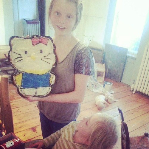 Big sisters made a giant birthday Hello Kitty cookie!