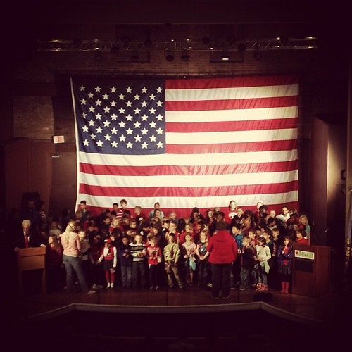 Beckham's class singing at Manhattan Veterans Day event in Wareham Theater. #mhk #manhattanks
