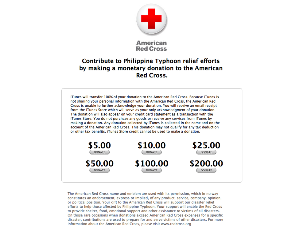 American Red Cross iTunes donation