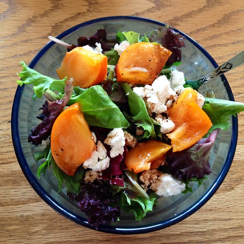 Persimmon goat cheese salad