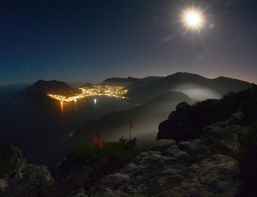 Hout Bay under a near full Moon
