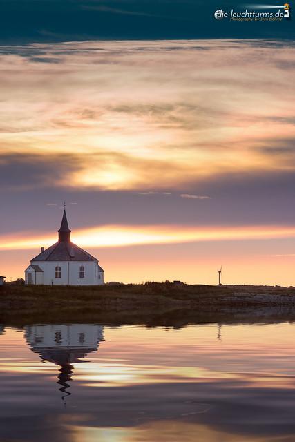 Sunrise behind Dverberg chapel