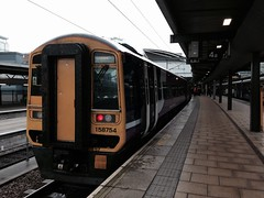 Metro train about to depart Platform 4 of Leeds station