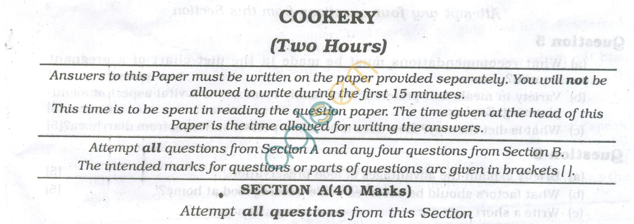 ICSE Question Papers 2013 for Class 10 - Cookery