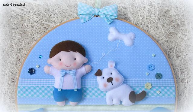 Quadretto al telaio - bambino e cagnolino