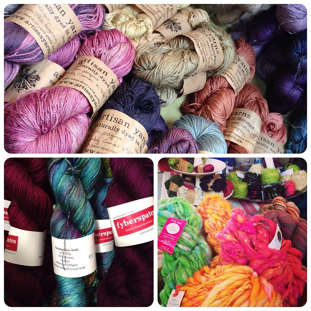 A very small sample of the yarns I fondled at Unravel 2014