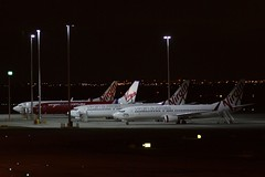 Four Virgin Australia 737s parked for the night