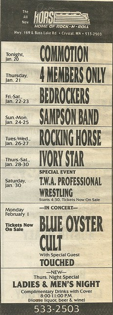 02/01/88 Blue Oyster vult/ Touched @ Iron Horse, Crystal, MN