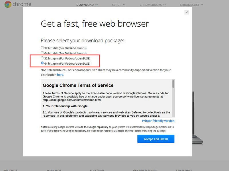 yum install google chrome
