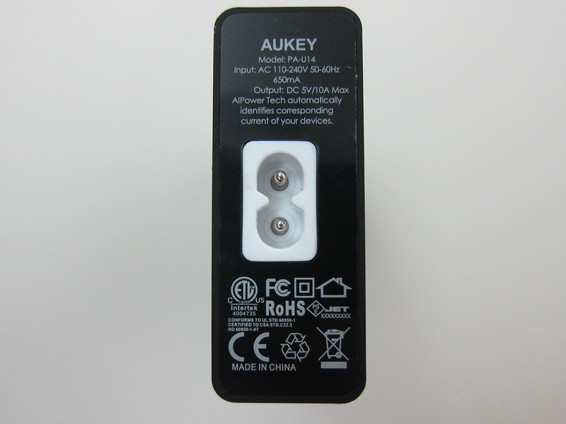 Aukey 50W 5V/10A 6-Port Wall Charger - Back