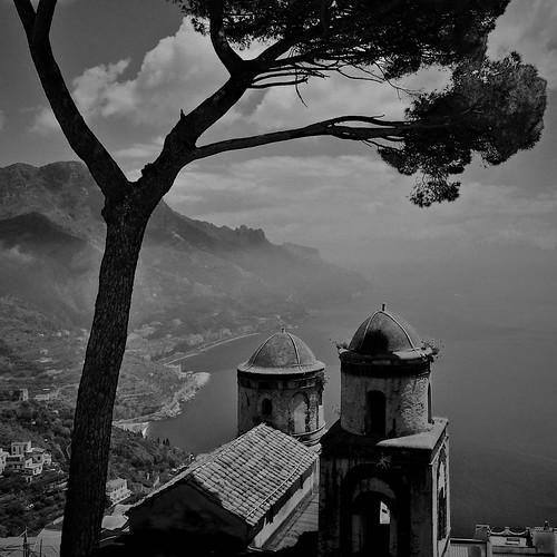 sea bw italy white mountain black tree clouds coast haze view ravello amalfi